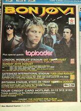 BON JOVI 2000 Tour UK Press ADVERT 8x6 inches