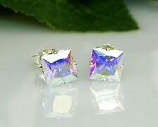 Mercury Mystic Topaz PRINCESS Cut Sterling Silver Stud Earrings