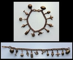 Vintage HEAVY SOLID BRASS 12 Charm Bracelet Airplane Football Bowling Ball Pin