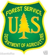 US FOREST SERVICE SHIELD STICKER BUMPER STICKER YELLOW ON GREEN  LAPTOP STICKER