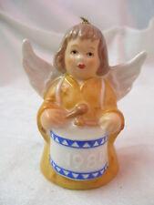 Vintage 1984 West Germany Goebel Angel Bell Ornament orange yellow Drum