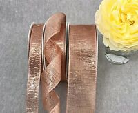 Wired Rose Gold Ribbon Metallic Lame Mesh - Wedding - Christmas - Floral Ribbon