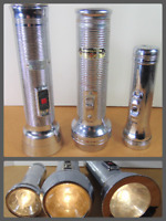 Vintage Flashlight Lot Rayovac Sportsman Eveready Wizard Chrome Metal WORKING