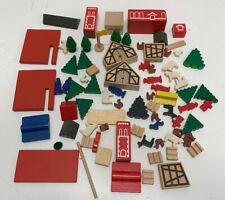 European Style Toy Blocks Farm Animals Buildings Village Trees Flags Villagers