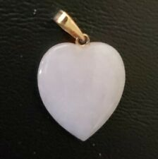 Vintage Chinese White Nephrite Jade Heart Pendant w/14kg Clasp
