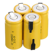 Lot 4PCS yellow color Rechargeable Battery Sub C SC 1.2V 2200mAh Ni-Cd Batteries