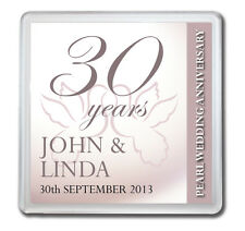 PERSONALISED 30th PEARL WEDDING ANNIVERSARY DRINKS COASTER