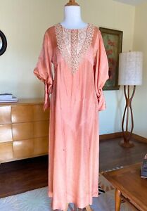 Antique 30's Satin Dress French Lace Peach Heart Patterned Gown Gigot Sleeves