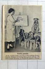 1956 Artist Inger Davidson Woking Painting Airedale Family Oakleigh Kennels Binf