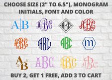 Monogram Initials Vinyl Decal /CHOOSE FROM 2