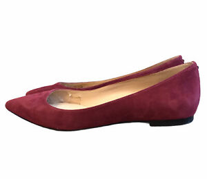 Sam Edelman Suede Flats Ladies Size 8 M Slip On Red Burgundy Maroon Leather RAE