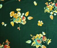 "1+ Yard Big Gold Red Flowers on Dark Green Silky Poly-Blend Fabric 50"" X 57"""