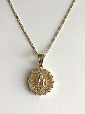 "CADENA DE GUADALUPE-18""/18K GOLD PLATED GUADALUPE FIGARO NECKLACE-18"" -38x25mm"