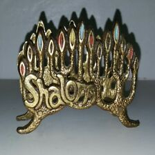 "Ornate Brass small Napkin Holder 3.5 "" w x  3"" high, 2"" candle design."