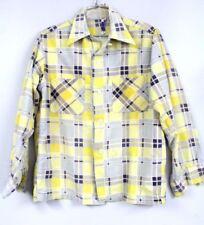 50's Loop Collar Shirt Berwyck Yellow/Gray Shadow Plaid Rockabilly S Distressed