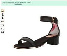 Ted Baker Ruz Black Gold heeled sandals ankle strap leather shoes US10 EU41