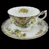 Vintage Yellow Orchid Teacup & Saucer Victorian Tea Party Shabby Chic