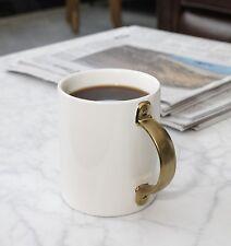 Kikkerland Gold Metallic Handle Porcelain White Tea Coffee Mug Cup Xmas Gift