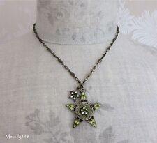 Vintage Andersen PILGRIM Necklace Enamel Swarovski STAR Charm Gold/Green BNWT