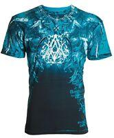 ARCHAIC by AFFLICTION Mens T-Shirt FURNACE Wings BLUE Tattoo Biker MMA $40