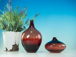 PAIR OF VINTAGE HAND BLOWN RUBY RED GLASS SALONG VASES JOHANNA JELINEK FOR IKEA