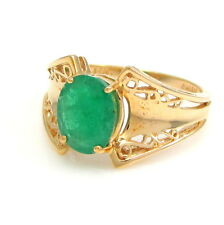 14k Yellow Gold Filigree 1.41ct Emerald Solitaire Ring Size 7  | G TX