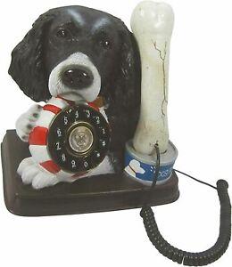 Black Spaniel Dog & Bone Phone