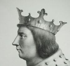 Antique print Charles V le Sage guerre d Cent Ans librairie royale roi de France