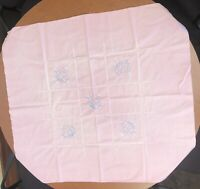 "37"" X 41"" Pale Pink Vintage Tablecloth With Blue & Yellow Embroidered Flowers"