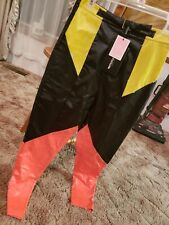 Pretty Little Thing faux leather color block racing pants Size 6 moto pants
