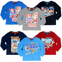 Disney Planes Long Sleeve T-Shirt Top Boys Age 2 3 4 5 6 7 8 New Official