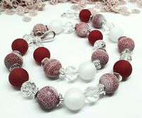 EDLE Halskette rot rose weiß Achat Polaris Perlen Strass Glas Halbedelstein 52cm