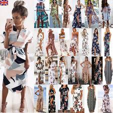 UK Womens Holiday Sleeveless Ladies Maxi Long Summer Print Beach Dress Size 6-16