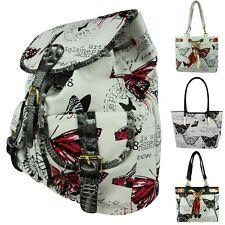 Vintage Rucksack shopper Tasche Hobo Handtasche Schmetterling Schultertasche 260