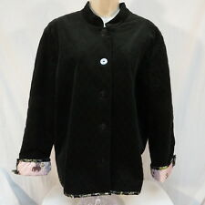 hearts of palm Black Quilted Jacket with Pink Elephant Lining Size 18