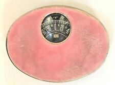 Vintage BORG MCM Hollywood Regency PINK Furry, Fuzzy Bathroom Scale, WORKS!