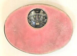 Vintage BORG MCM Hollywood Regency PINK Furry, Fuzzy Bathroom Scale, WORKS!