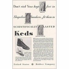 1934 Keds Shoes: Dont Risk Your Boys Feet Vintage Print Ad