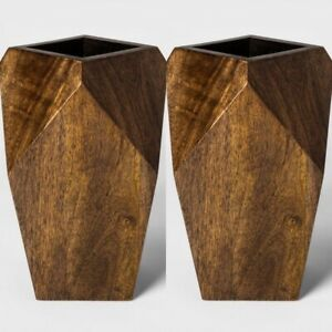 """2pk PROJECT 62 Real Wooden Vase   Brown   11"""" x 7.25""""   🆕"""