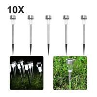 10PCS Stainless Steel LED Solar Power Lights Lawn Garden Pathway Landscape Lamp