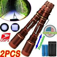 2sets 350000Lumens T6 LED 5 Modes 18650 Flashlight Aluminum Zoom Powerful Torch