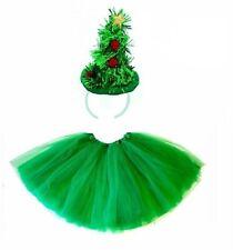LADIES CHRISTMAS TREE TUTU COSTUME KIDS TEENS GIRLS SANTA FANCY DRESS PARTY UK