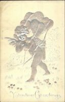 Valentine - Silver Embossed Cupid w/ Hearts c1910 Postcard