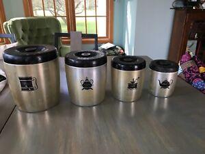 Vintage West Bend USA Complete Aluminum Nesting Canister Set Gold Silver Black