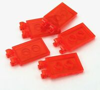 Lego 5 New Trans-Neon Orange Tiles Modified 2 x 3 with 2 Clips Pieces Parts
