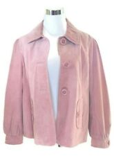 Monterey Bay Women Suede Leather Jacket Pink Button Up Size 10