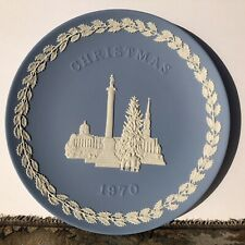 Authentic Wedgwood Blue Jasperware Christmas Plate 1970 Made In England 8 1/8""