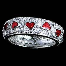 DESIGNER REPLICA_PAVE' CZ_RED ENAMEL HEART RING_SZ-9 __925 Sterling Silver
