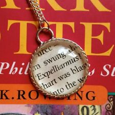Expelliarmus Spell Book Quote Necklace Vintage Retro Style Harry Potter