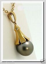11.4MM Gray Tahitian Pearl Pendant, 14K Yellow Gold, NEW
